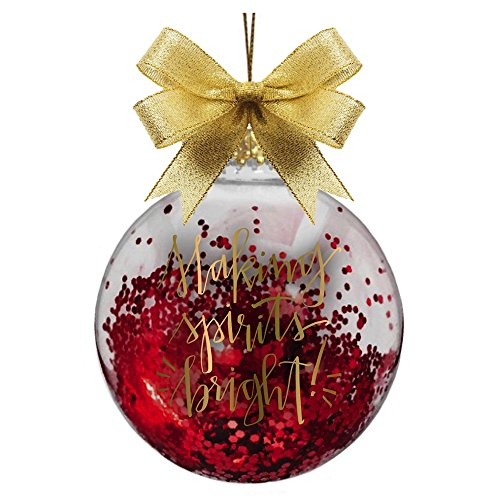 Glass Ball Christmas Ornament Glitter Filled w Making Spirits Bright by Slant