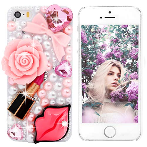 Mermaid Lip Pearls - iPhone SE Case,iPhone 5S/5 Case - Mavis's Diary 3D Handmade Bling Crystal Red Lips Lipstick Pink Heart Bow Pearls Diamonds Hard White Cover