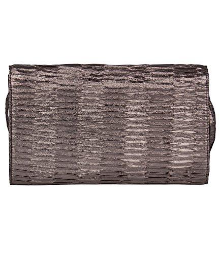 Pochette glänzend braun 427 und bronze Handschlaufe SALE Umhängeriemen Handtasche Silvester Abendtasche 620 Clutch abnehmbare Party Damen SIX FpRgx