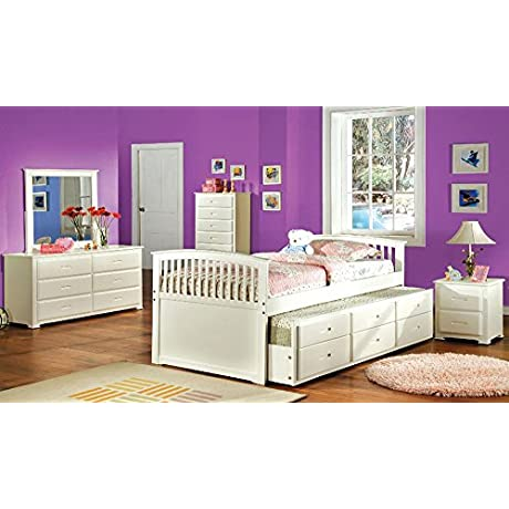 Cornwall Mission Wood Full Trundle Bed 3 Drawers White