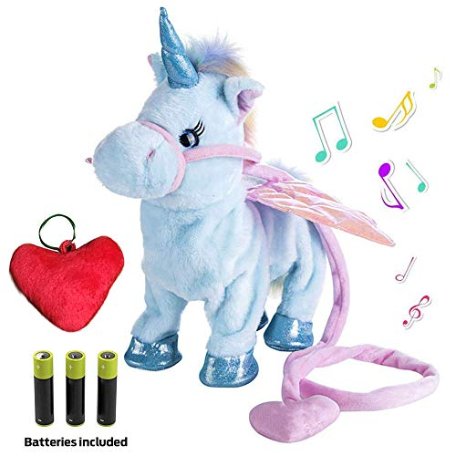 Plush Unicorn Toy Toys for Girls Electric Blue Pet W/BONUS GIFT Walking Singing Unicorns Interactive Sound Animals Stuffed Animal Puppy Baby Girl Gifts for Babies 8 5 18 Toddlers BATTERIES INCLUDED]()