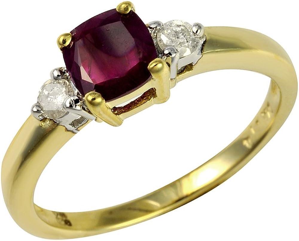 Bague - 145R0102-16 - Anillo de mujer de oro amarillo (9k) con diamantes y rubís