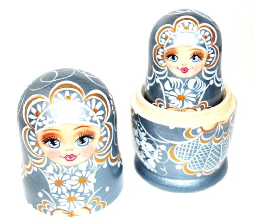 Authentic Unique Russian Hand Painted Handmade Russian Silver Nesting Dolls Set of 5 Pcs Matryoshkas 5'' Artist Signed by Gabriella's Gifts (Image #4)