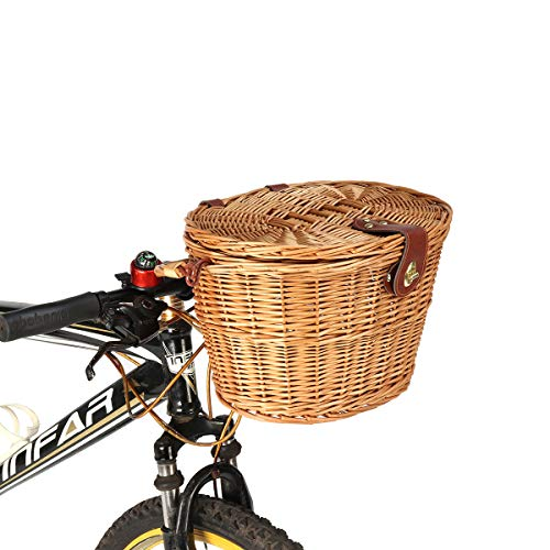 TANCHEN Trendy Classic Removable Wicker Cycling Bicycle Front Basket Box Bike Basket with Cover