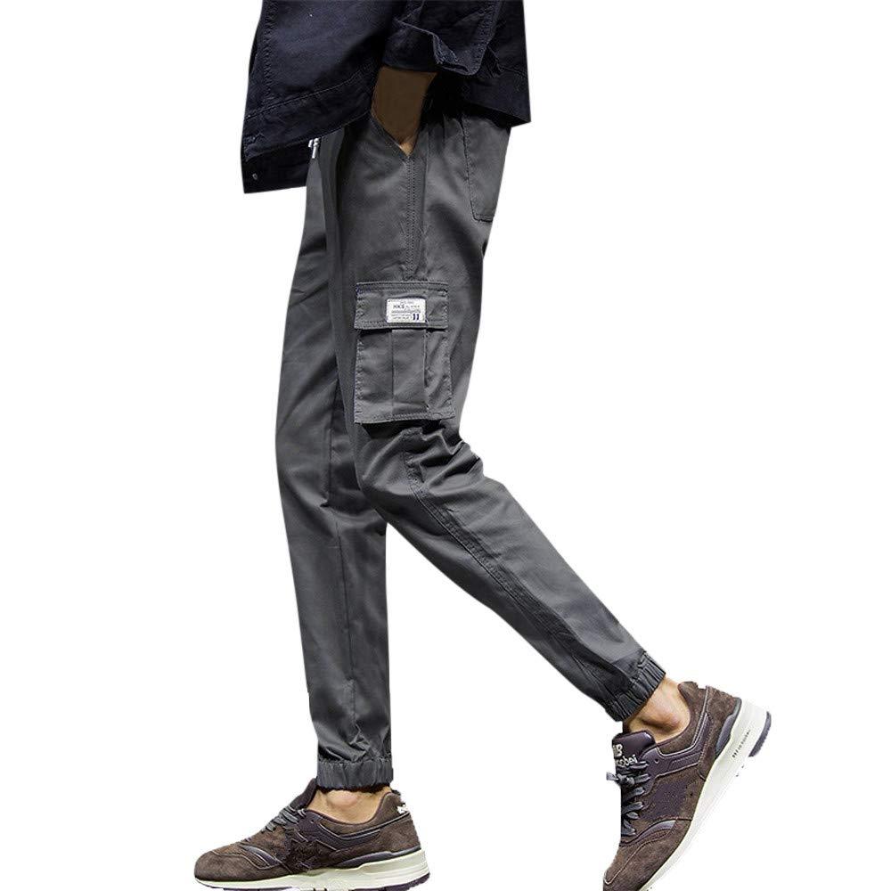 FANOUDMen's Casual Solid Color Elastic Pocket Sports Bottom Feet Pants not Full Leg Pants (Short)