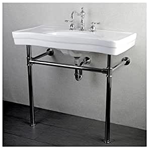 Imperial Vintage 36 Inch Wall Mount Chrome Pedestal Bathroom Sink Vanity Kitchen