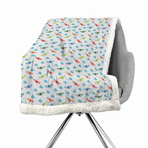 BenmoHouse Airplane Berber Fleece Light Thermal Blanket 60 by 32 Inch Warm All Season for Multicolor Travel Around The World Theme with Colorful Retro Biplanes Air Route Dashed Lines