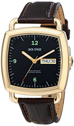 Jack Spade Men's WURU0040 Sutherland Gold-Tone Stainless Steel Watch with Brown Leather Band (Jack Spade Watch)