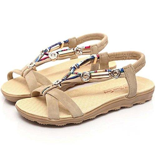 Calzado de mujer,Amlaiworld Sandalias de verano Zapatos de tacón grueso Zapatos de gladiador Beige