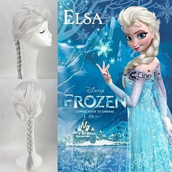 Frozen - Peluca de Princesa Elsa. Color plateado, con trenza