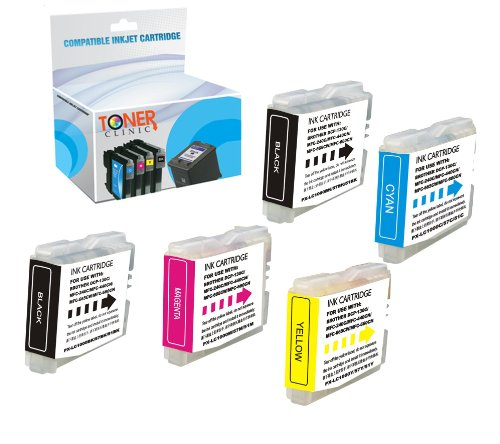 Brother Lc51bk Inkjet - Toner Clinic TC-LC51 5PK 2 Black 1 Cyan 1 Magenta 1 Yellow Compatible Inkjet Cartridge for Brother LC-51BK LC-51C LC-51M LC-51Y LC-51 LC51 For use in Brother DCP-130C DCP-330C DCP-350C DCP-540CN IntelliFax-1360 IntelliFax-1860C IntelliFax-1960C IntelliFax-2480C IntelliFax-2580C MFC-230C MFC-240C MFC-3360C MFC-440CN MFC-465CN MFC-5460CN MFC-5860CN MFC-665CW MFC-685CW MFC-845CW MFC-885CW - 5 Pack Compatible Inkjet Cartridges