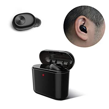 Auricular inalámbrico Bluetooth de 1 par, Mini Auriculares estéreo Recargables para iPhone de Apple Air-pods 7 8 X Android (Negro, 700 mAh): Amazon.es: ...