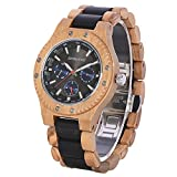 Wood Watch Men Quartz Analog Sub-dials Japanese Movement Lightweight Handmade Wristwatch for Men