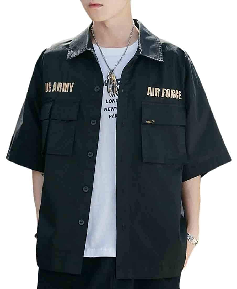 WSPLYSPJY Mens Summer Loose Fit Short Sleeves Casual Button Down Shirts Tops