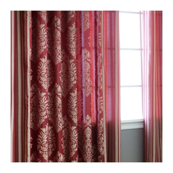 "Best Home Fashion Wide Width Damask Jacquard Curtain - Antique Bronze Grommet Top - Burgundy - 90"" W x 84"" L - (1 Panel) - Keep your home decor under wraps with these wide width damask jacquard curtain pair. Curtain pair brings style and sophistication to any room Textured design accents any window home décor - living-room-soft-furnishings, living-room, draperies-curtains-shades - 519kv6bJQKL. SS570  -"