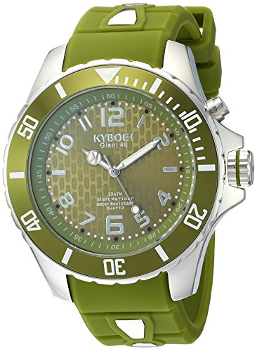 KYBOE! 'Power' Quartz Stainless Steel and Silicone Casual Watch, Color:Green (Model: SC.48-004.15)