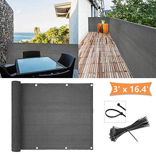 zimo Balcony Privacy Shield UV Protection Opaque Weather-Resistant Balcony Cover 3×16.4' (Grey) (Privacy For Screening Patios)