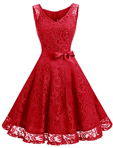 Dressystar Women Floral Lace Bridesmaid Party Dress Short Prom Dress V Neck M Red
