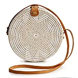 Rattan Bags for Women - Handmade Wicker Woven Purse Handbag Circle Boho Bag