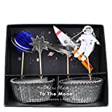Meri Meri 'To The Moon' Space Themed Cupcake Kit (Includes 24 Baking Cups & 24 Toppers)
