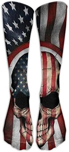 Classical Skull With American Flag Knee High Sock Compression Sports Socks Graphic Athletic Sock For Man And Woman