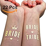 WATINC 22 pack Bachelorette Bride and Bride Tribe Temporary Tattoos, Metallic Shiny Gold Flash, Bachelorette Party Supplies Ideas Accessories Favors