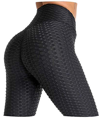 INSLING High Waisted Leggings Yoga Pants Tummy Control Butt Lifting Workout Slimming Tight for Woman Black