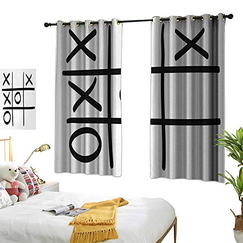 Fresh Curtains Xo Tic Tac Toe Pattern Unfinished Game Hobby Theme Alphabet Minimalist Artful Image W55 xL45 Black and White Suitable for Bedroom Living Room Study,etc. ()
