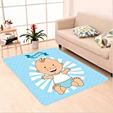 Nalahome Custom carpet orations Baptism Design Happy Boy Christening Striped Dotted Background Christian Religion Theme area rugs for Living Dining Room Bedroom Hallway Office Carpet (6' X 9')