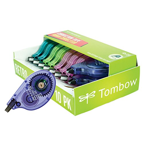Tombow 68723 MONO Retro Correction Tape, Assorted Colors, 10-Pack. Colorful, Easy To Use Applicator for Instant - Tape Mono Wide Correction