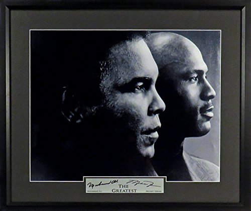 "Muhammad Ali & Michael Jordan ""The Greatest"" 11x14 Photograph (SGA Signature Engraved Plate Series) Framed"