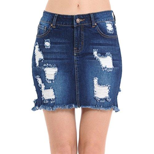 NioBe Clothing Wax Womens Distressed Destruction Frayed Hem Denim Skirt