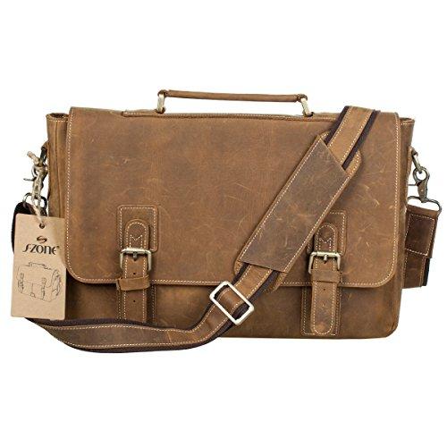 (S-ZONE Men's Crazy Horse Leather Satchel Briefcase Shoulder Bag Messenger Bag 14