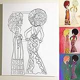 Afro Ladies DIY Coloring Canvas
