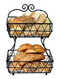 ESYLIFE 2 Tier Removable Metal Fruit Basket Stand Wire Bread Fruit Storage Rack, Black