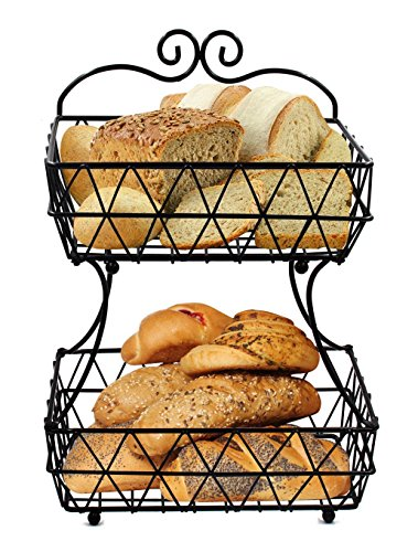ESYLIFE 2 Tier Removable Metal Fruit Basket Stand Wire Bread Fruit Storage Rack, Black Serving Basket