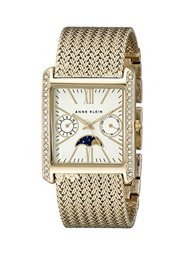 Anne Klein Women's AK/2002SVGB Swarovski Crystal-Accented Rectangular Watch
