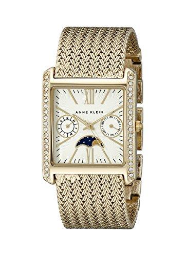 Anne Klein Women's AK/2002SVGB Swarovski Crystal-Accented Rectangular Watch