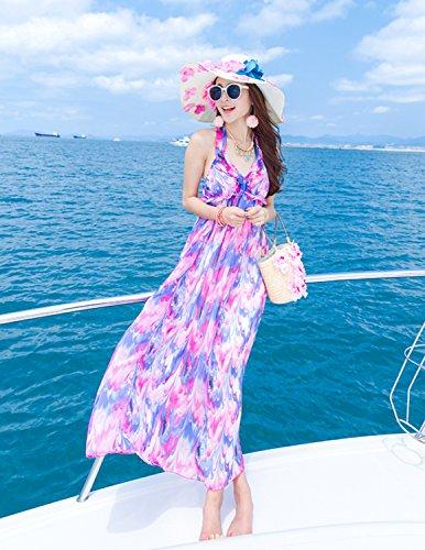MODETREND Mujer Vestido Bohemio Largo Escotado por Detrás Vestidos de Fiesta Playa y Vacaciones Multicolor