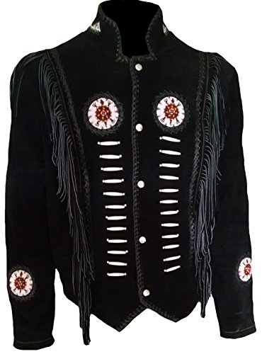 Fringed Mens Jacket - Classyak Men's Western Cowboy Fringed & Boned Suede Leather Jacket Black Medium
