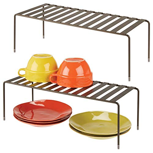 mDesign Modern Metal Storage Shelf Rack - 2 Tier Raised Food and Kitchen Organizer for Cabinets, Pantry Shelves, Countertops Dishes, Plates, Bowls, Mugs, Glasses, 2 Pack - Bronze