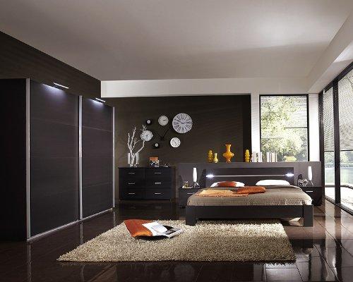 Schlafzimmer 6-tlg »BARCA« lavafarbig mit LED-Beleuchtung