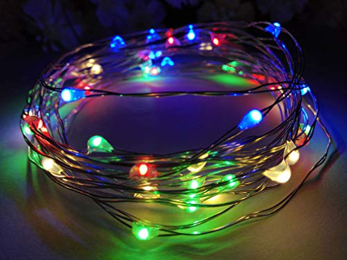 Viewpick 4m 40 LEDs Multicolor Fairy Lights Silver Wire String Lights AA Battery Powered Led String Starry Light for Outdoor Decorative Halloween Christmas Parties Activities