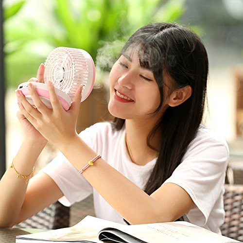 Cingk Personal Fan Cooling Misting Fan, Portable USB Rechargeable Fan, Power Bank, Table Desk Mini Humidifier, Multifunction 3 in 1, Blue by Cingk (Image #6)