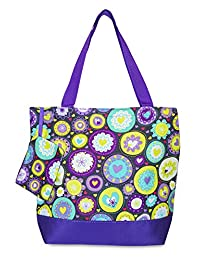 Ever Moda Purple with Multi-color Hearts Tote Bag, Large 17-inch