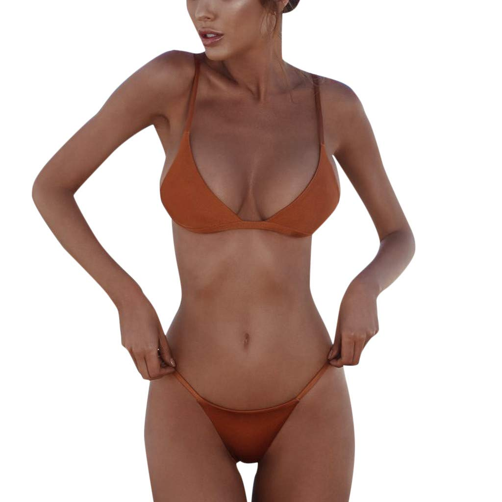 Womens Swimsuit Two Pieces Bikini Set Push-Up Padded Swimwear Summer Casual Solid Bathing Suits for Women Swimming Costume