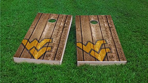 (Tailgate Pro's West Virginia Mountaineers Distressed Cornhole Boards, ACA Corn Hole Set, Comes with 2 Boards and 8 Corn Filled Bags)