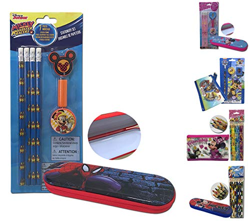 Disney Stationery Set Boys and Girls Drawing Pencil Set and Zippered Tin Pencil Holder Case Box Included Eraser, Writing Grip, Pencil Sharpener for Kids (Boys Set) (Spider Man Pencil Sharpener)