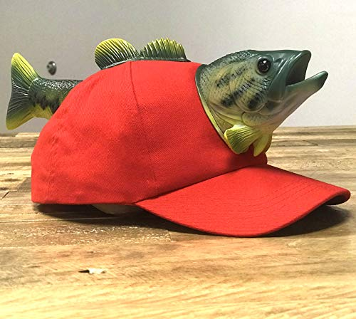 Crazy Bass Fishing Hat - Cotton Baseball Cap with Novelty 3D Pop-Out Fish Design - Funny Fishing Fisherman Gift - Snapback One Size Fits All for Men, Women and Boys and Girls