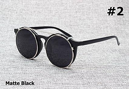 94536865b2 Aprigy - Gafas de Sol para Hombre, Estilo Vintage, Redondas, Estilo  Steampunk, Doble Capa, diseño de Concha, Negro Brillante: Amazon.es:  Deportes y aire ...